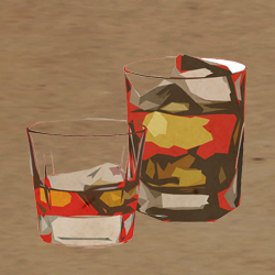 Illustration of two glasses of liquor and ice in front of textured background