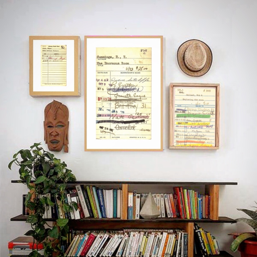 Framed Art prints of vintage library cards