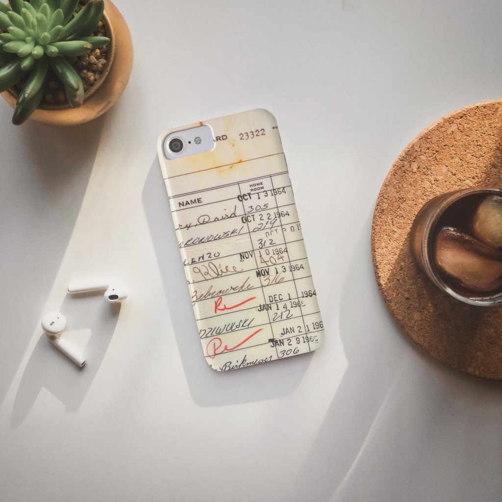 iPhone case with vintage library card