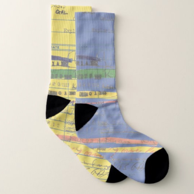 Customizable socks with vintage library card Artwork